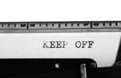 Typewriter. Typing text: keep off Royalty Free Stock Images