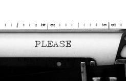 Typewriter. Typing text: Please Stock Image