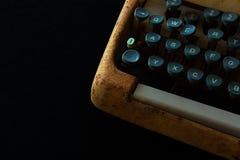 Typewriter, Waiting for Inspiration. Vintage Rusty Typewriter Ma. Chine. Journalist Equipment. Typewriter Close Up Isolated on Black Background Royalty Free Stock Image