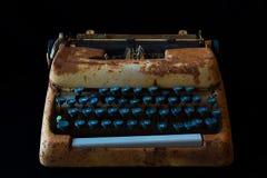 Typewriter, Waiting for Inspiration. Vintage Rusty Typewriter Ma. Chine. Journalist Equipment. Typewriter Isolated on Black Background Royalty Free Stock Photos