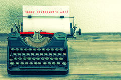 Typewriter with white paper page. Happy Valentine's Day! Stock Images