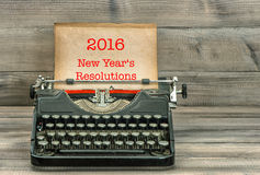 Typewriter with white paper page. New Year's Resolutions Royalty Free Stock Image