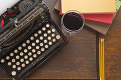 Typewriter Wine Books Stock Photo