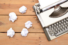 Typewriter on wood Stock Photos