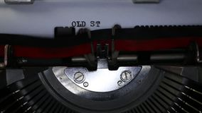 TYPEWRITER with written Old Style in the paper stock video footage