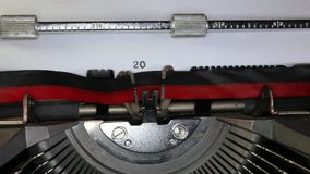 TYPEWRITER with written 2015 in the paper. Old typewriter with written 2015 with black ink in paper stock footage