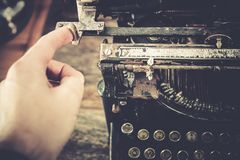 Typewriting on Vintage Machine Stock Photo