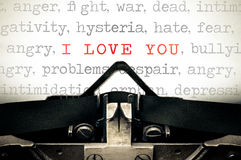 Typewritter with the phrase I Love You Stock Photography