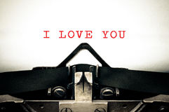 Typewritter with the phrase I Love You Royalty Free Stock Photos