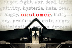 Typewritter with the word customer Stock Image