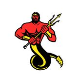 Typhon che tiene colore della mascotte di Trident illustrazione vettoriale