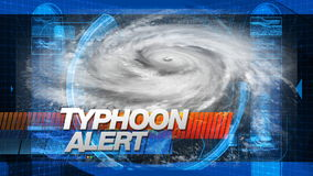 Typhoon Alert - Title Graphics. Typhoon Alert graphic main title - Time-lapse custom composited animation of a massive hurricane. 5 total layers of depth to stock footage
