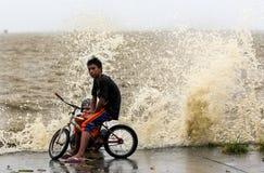 Typhoon Haiyan's hits Philippines. Laguna de bay, Philippines - November 8, 2013: Typhoon Haiyan's, an equivalent category 5 hurricane, endangering 25 million stock photo