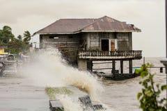 Typhoon Haiyan's hits Philippines. Laguna de bay, Philippines - November 8, 2013: Typhoon Haiyan's, an equivalent category 5 hurricane, endangering 25 million stock images