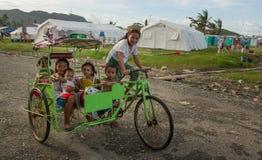Typhoon Haiyan survivors Stock Photo