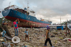 Typhoon Haiyan survivors Royalty Free Stock Photo