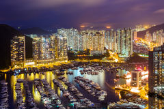 Typhoon shelter in Hong Kong during sunset Stock Images