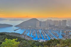 Typhoon shelter in mountain in Hk Royalty Free Stock Images
