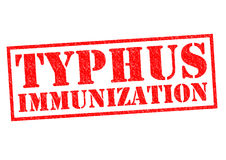 TYPHUS IMMUNIZATION. Red Rubber Stamp over a white background Stock Image