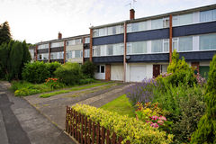 Typical 1970s terrace houses with garden. In Bristol, UK Royalty Free Stock Photo
