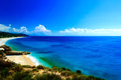 Typical adriatic seascape with hills and indented coastline Royalty Free Stock Photos