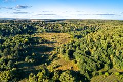 Typical aerial landscape of the Central Russian Upland. Bolshoe Gorodkovo village, Kursk region. Typical aerial landscape of the Central Black Earth Region of royalty free stock photo