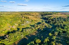 Typical aerial landscape of the Central Russian Upland. Bolshoe Gorodkovo village, Kursk region. Typical aerial landscape of the Central Black Earth Region of stock image