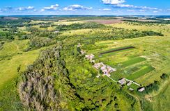 Typical aerial landscape of the Central Russian Upland. Bolshoe Gorodkovo village, Kursk region.  royalty free stock image
