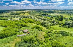 Typical aerial landscape of the Central Russian Upland. Kursk region. Typical aerial landscape of the Central Russian Upland. Bolshoe Gorodkovo village, Kursk royalty free stock images