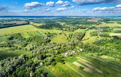 Typical aerial landscape of the Central Russian Upland. Kursk region. Typical aerial landscape of the Central Russian Upland. Bolshoe Gorodkovo village, Kursk royalty free stock image