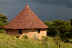 Typical African building against dark  sky Royalty Free Stock Photos