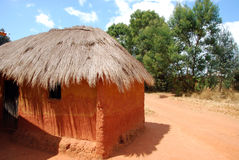 A typical African house in the village of Pomerini - Tanzania - Stock Photo