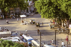 Typical afternoon street life in Delhi with cows, tuktuks, peopl Royalty Free Stock Photos