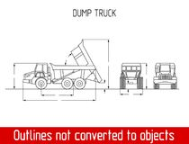 Typical agriculated truck overall dimensions outline blueprint template Royalty Free Stock Image