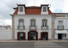 Typical Algarve house in front of the harbour royalty free stock photo