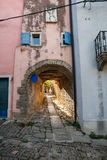 Typical alley of Groznjan. Arch in the typical alley of Groznjan, Istria. Croatia Royalty Free Stock Photo