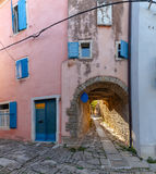Typical alley of Groznjan. Arch in the typical alley of Groznjan, Istria. Croatia Royalty Free Stock Images