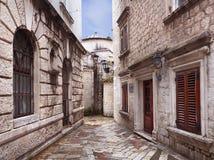 Typical Alleyway in Kotor, Montenegro Stock Photos