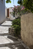 Typical alleyway in Megalochori, Santorini Royalty Free Stock Image