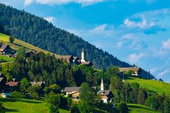 Typical alpine villages in tyrol alps on sunset stock photography