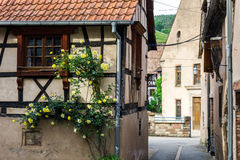 Typical alsacien house in small village, Bas-Rhin Stock Photography
