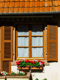 Typical alsacien house in small village, Bas-Rhin Stock Photo