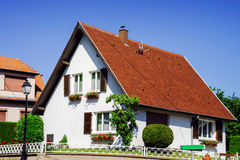 Typical alsacien house in small village, Bas-Rhin Stock Image