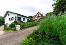 Typical alsacien house in small village, Bas-Rhin Royalty Free Stock Photography