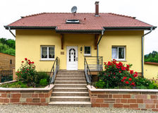 Typical alsacien house in small village, Bas-Rhin Royalty Free Stock Images