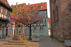 Village square in Alsace France stock photography