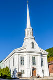 Typical American Church and Clear Sky. Typical White Wooden Church on a Clear Autumn Day Stock Image