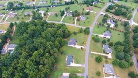 Typical american country subdivision neighborhood aerial stock photo