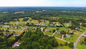 Typical american country subdivision neighborhood aerial stock images