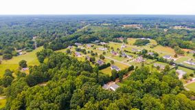 Typical american country subdivision neighborhood aerial stock photos